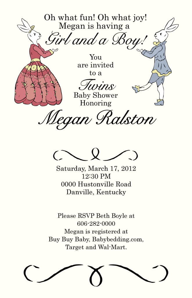 Twin Baby Shower Invitations for Megan Ralston- Illustration using pen tablet