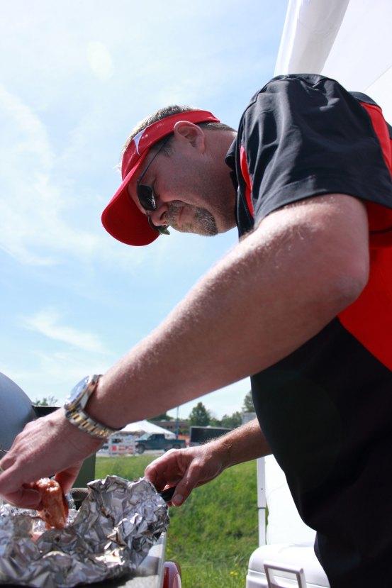 Rob taste testing his award winning chicken.