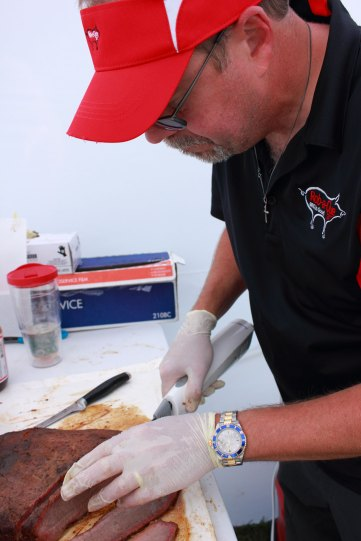 Rob slicing the beef brisket.